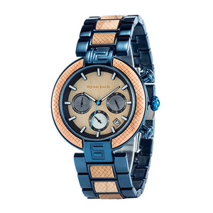 Blue Metal and Wood Quartz Fashion Unisex wrist watch - ryanjackcouk