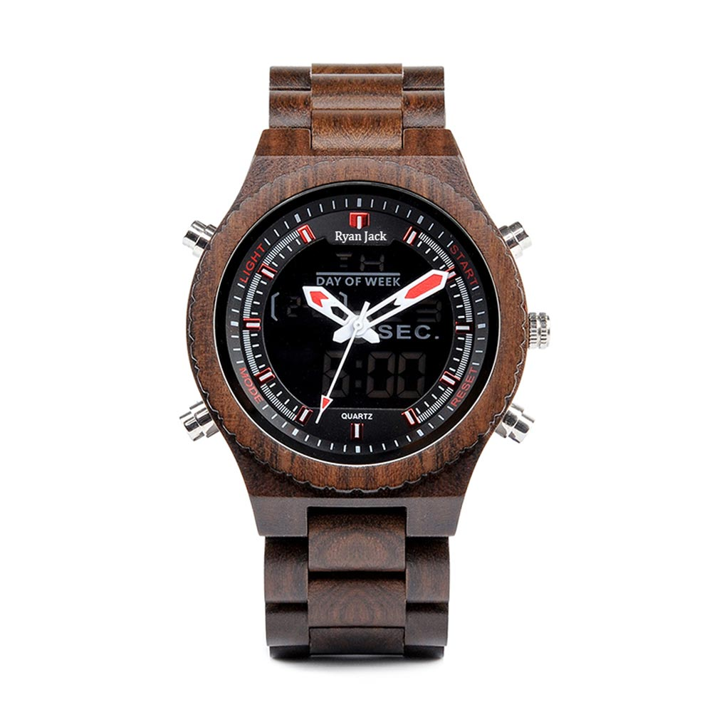 Original Luxury Wooden Dual Display Quartz Watch - Red - ryanjackcouk