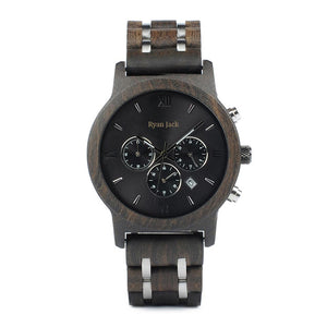 Mens Quartz Wooden Wristwatch chronograph stopwatch - Ebony - ryanjackcouk