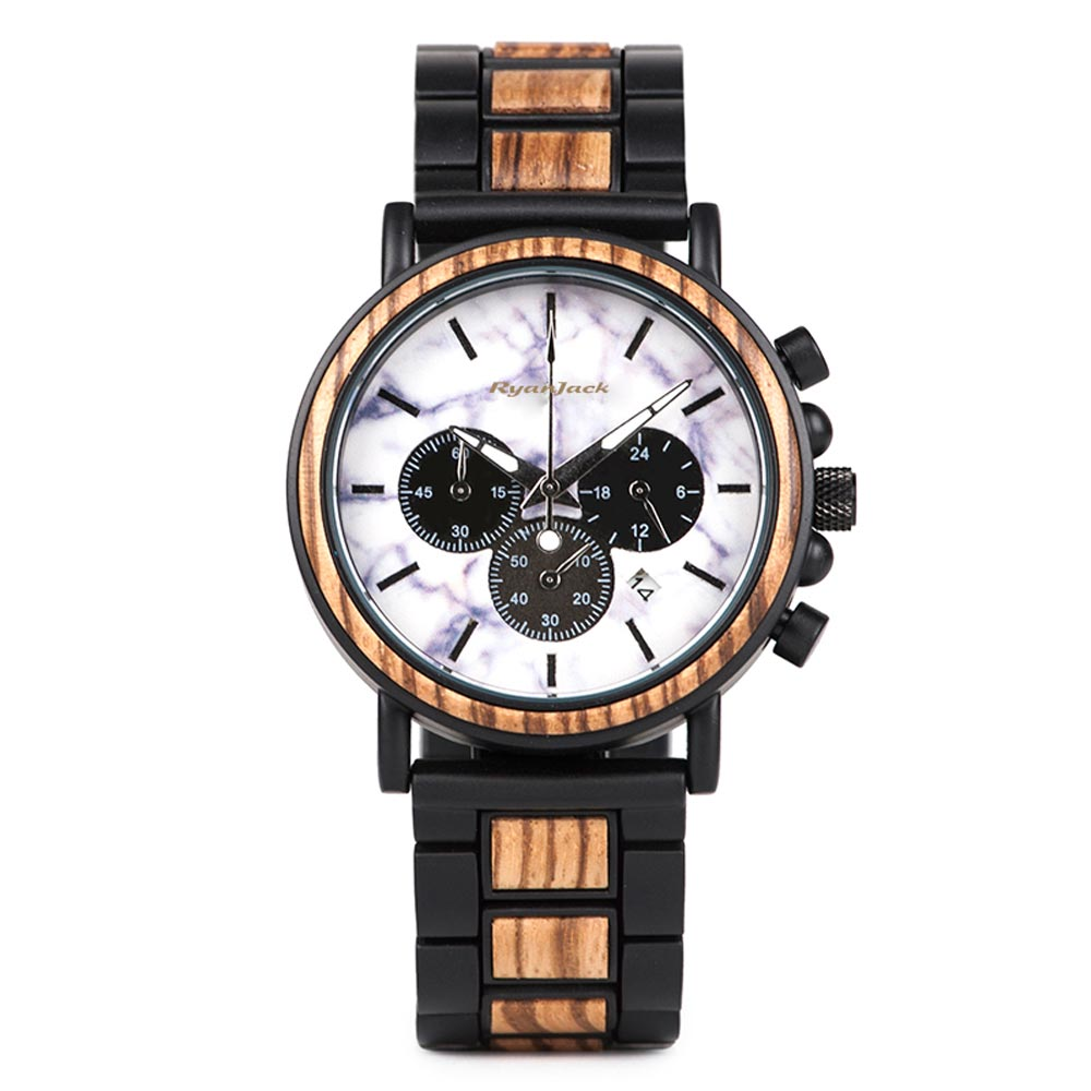 Mens Minimalist watch Unique Relogio Luxury Wood and Steel Wristwatch - Black Zebra Wood - ryanjackcouk