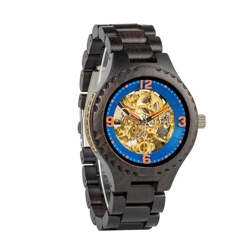 Mens Classic Wooden Automatic Mechanical Watch | Anniversary | Birthday | Gift - Ebony - ryanjackcouk