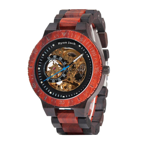 Hunted Mechanical Watch Automatic Wood Winder - Luxury Reloj Wristwatch - Redwood - ryanjackcouk