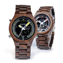 Load image into Gallery viewer, Original Luxury Wooden Dual Display Quartz Watch - Red - ryanjackcouk