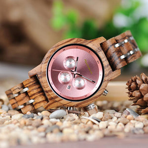 Womens Chronograph Rose Gold Wooden Wrist Watch - ryanjackcouk