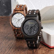 Load image into Gallery viewer, Mens Quartz Wooden Wristwatch chronograph stopwatch - Ebony - ryanjackcouk