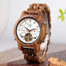 Load image into Gallery viewer, Luxury Wooden Dive Watch Automatic Chronograph Mechanical Wood Wristwatch - Zebra Wood - ryanjackcouk