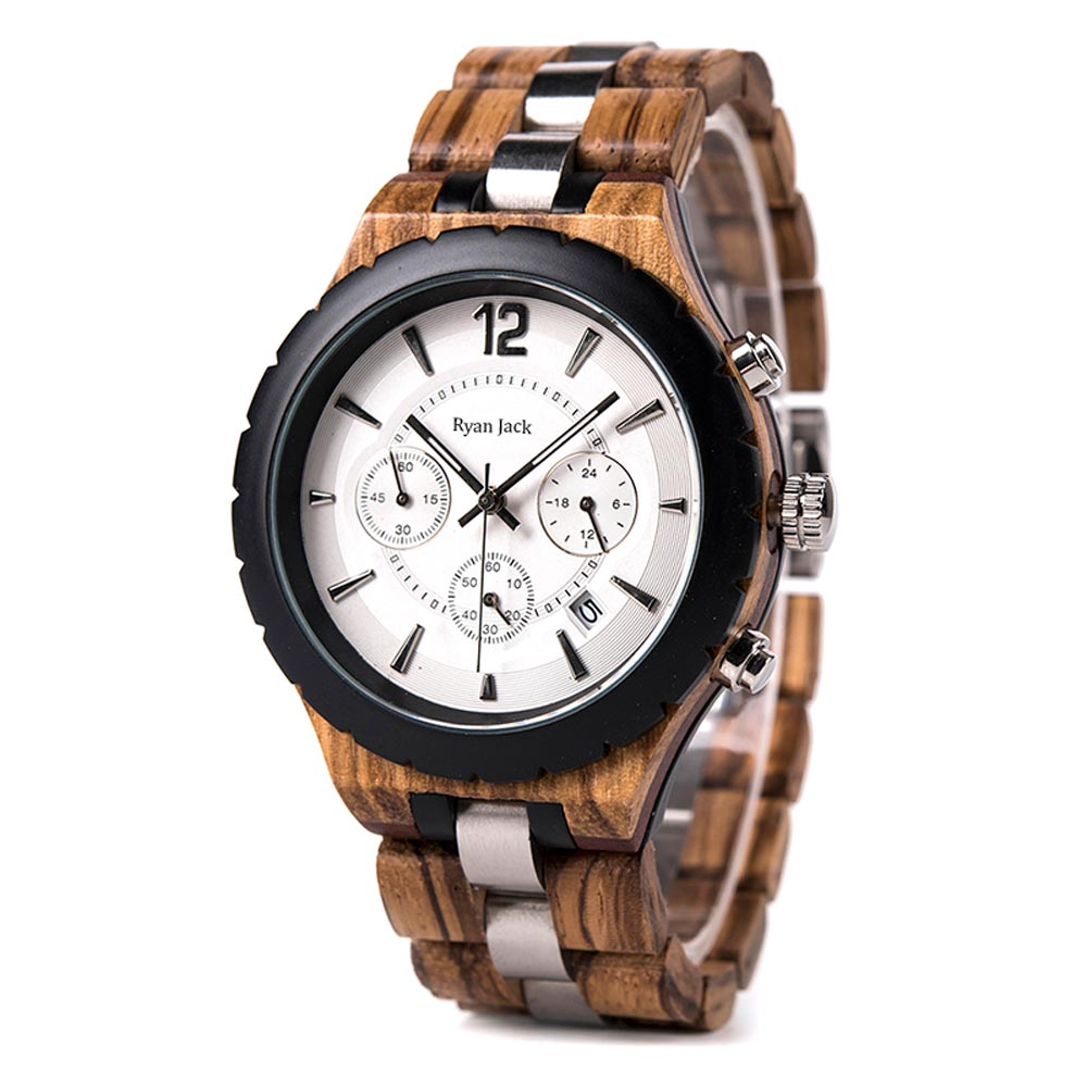 Choronograph Wood Watch Timepieces With Stainless Steel Strap - ryanjackcouk
