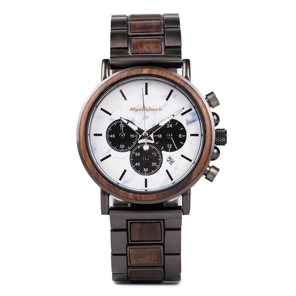Mens Minimalist watch Unique Relogio Luxury Wood and Steel Wristwatch - Dark Oak - ryanjackcouk