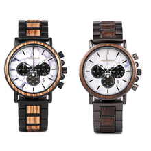 Load image into Gallery viewer, Mens Minimalist watch Unique Relogio Luxury Wood and Steel Wristwatch - Black Zebra Wood - ryanjackcouk