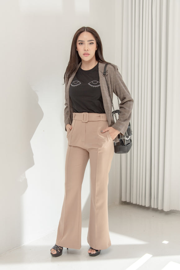 High-Waisted Flared Pants (Beige)