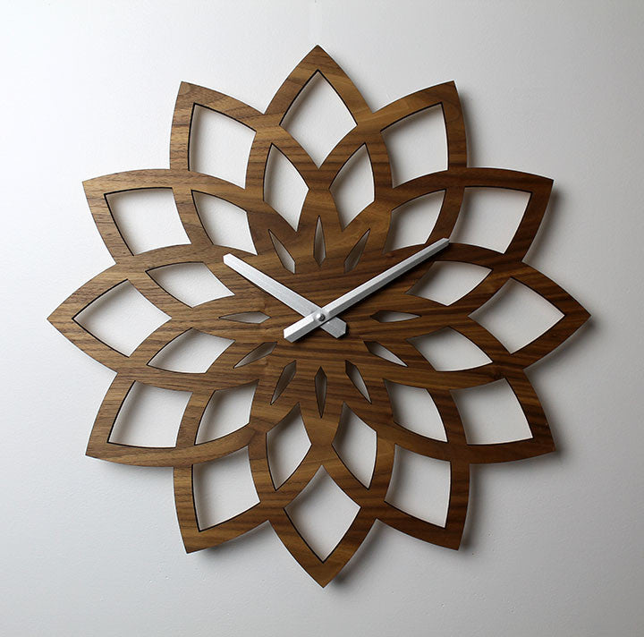 WOODEN WALL CLOCK - LOTUS, Walnut
