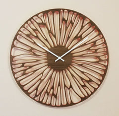 "12"" WOODEN WALL CLOCK - ORGANIC WITH ORANGE WINDOWS"
