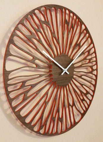 "18"" WOODEN WALL CLOCK - ORGANIC WITH ORANGE WINDOWS"