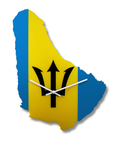 Map Wall Clock - Barbados Map and Flag