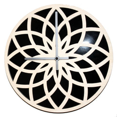 WOODEN WALL CLOCK - LOTUS CIRCLE WITH RED ACRYLIC