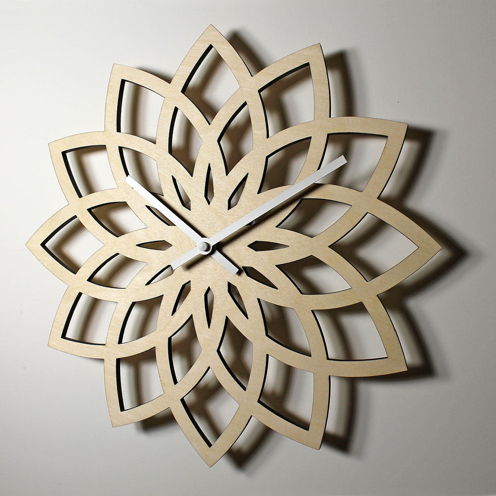 WOODEN WALL CLOCK - LOTUS