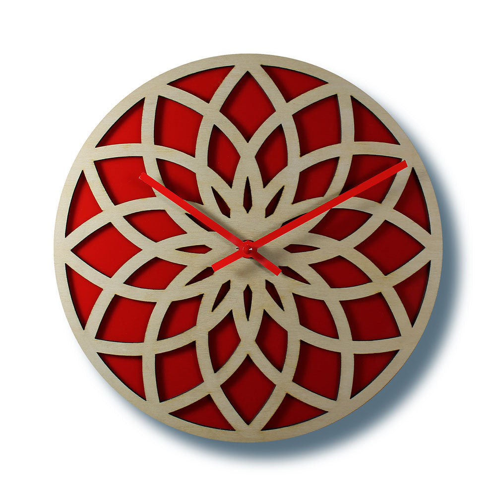 wooden wall clock lotus circle with red acrylic nygaard design