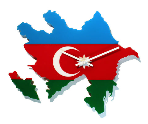 Map Wall Clock - Azerbaijan Map and Flag