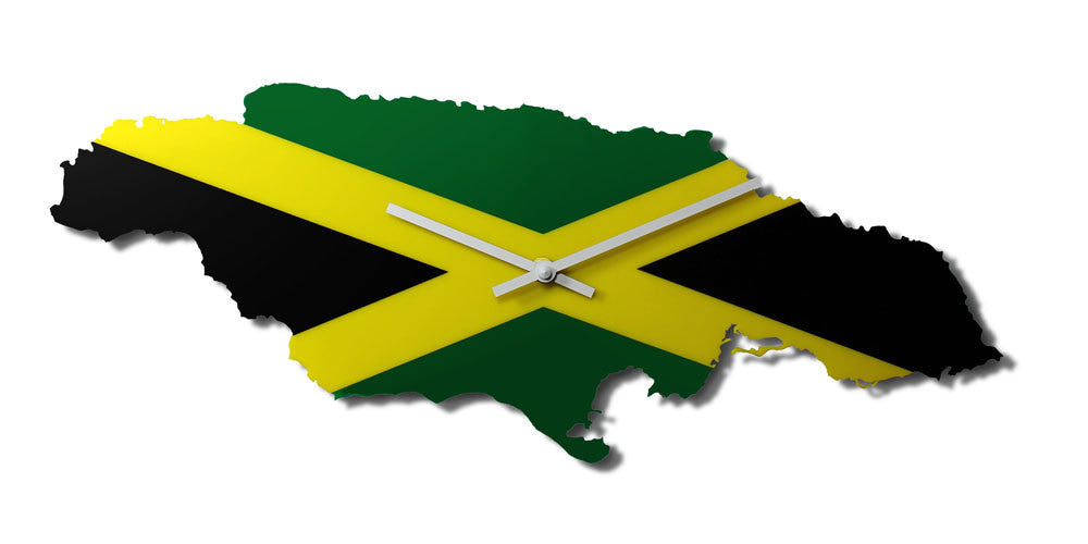 Map Wall Clock - Jamaica Map and National Flag – nygaard design