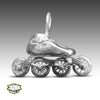 Silver Speed Skate Charm With Rolling Junk Voodoo Wheels