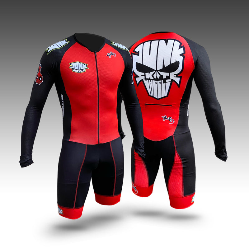 Junk Wheels Skull - Red Pro Racing Suit Long Sleeve