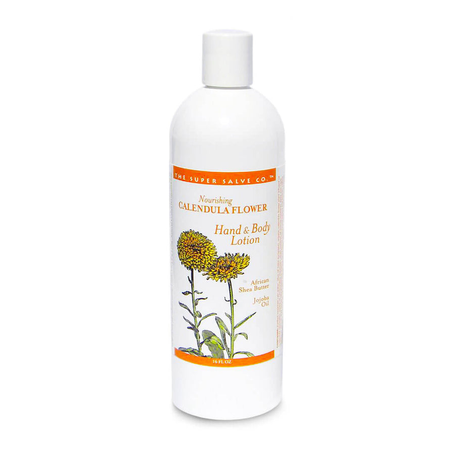 A 16 oz. bottle of Calendula Flower Lotion for Hand and Body by The Super Salve Co. stands against a white background at Winter Sun Trading Co.