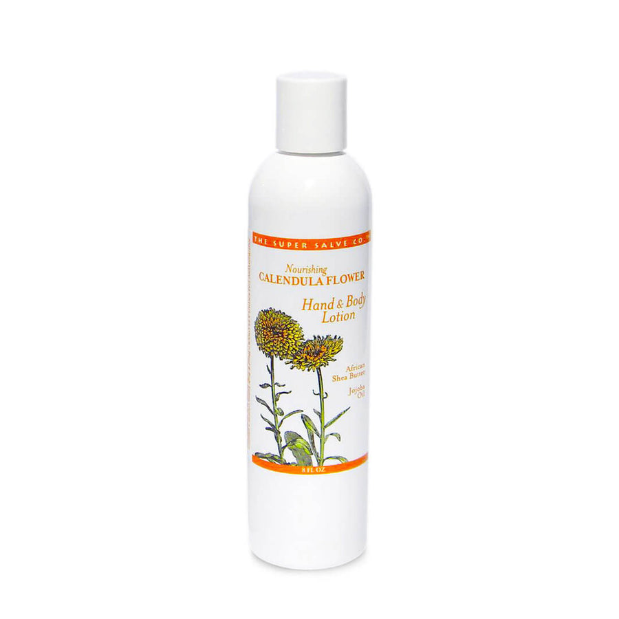 An 8 oz. bottle of Calendula Flower Lotion for Hand and Body by The Super Salve Co. stands against a white background at Winter Sun Trading Co.