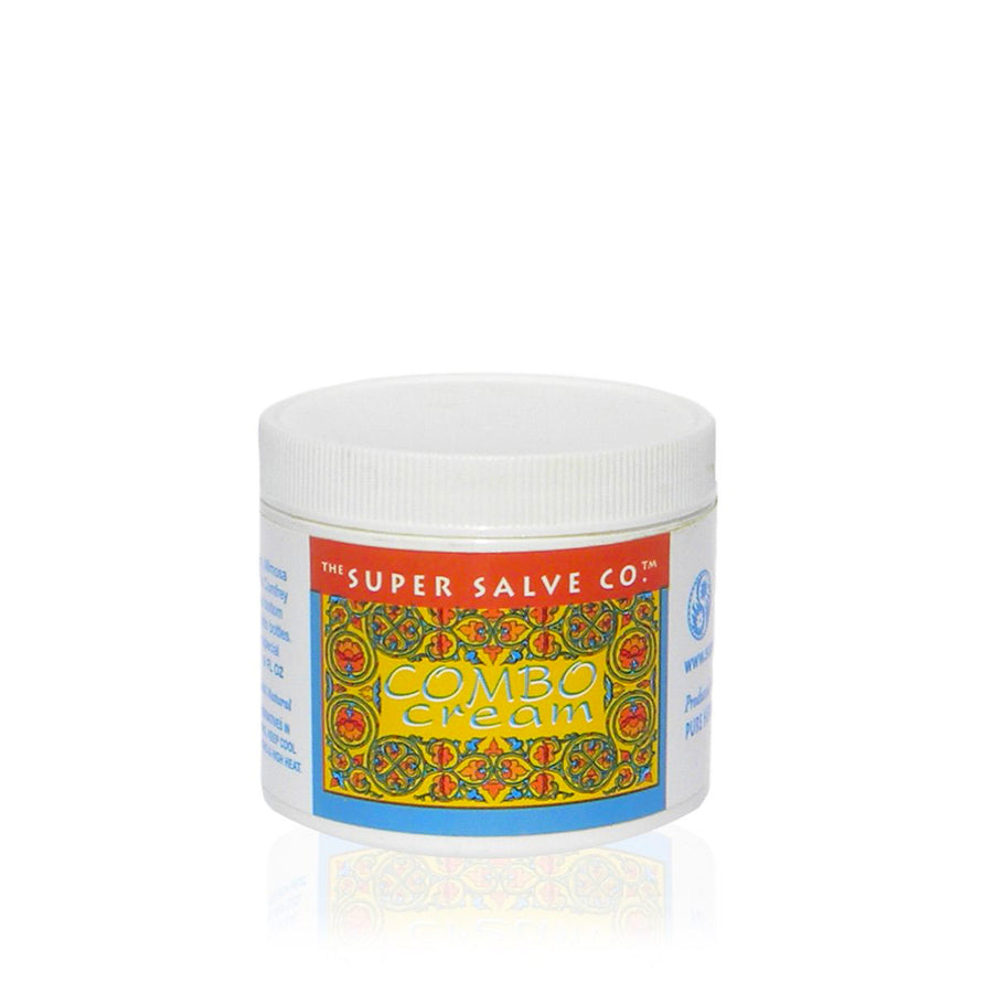 A 6oz. container of Combo Cream from The Super Salve Co. is seen against a white background