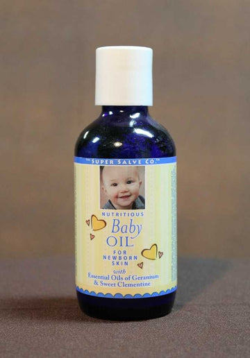 Nutritious Baby Oil 4 oz. Blue Glass  - The Super Salve Co.