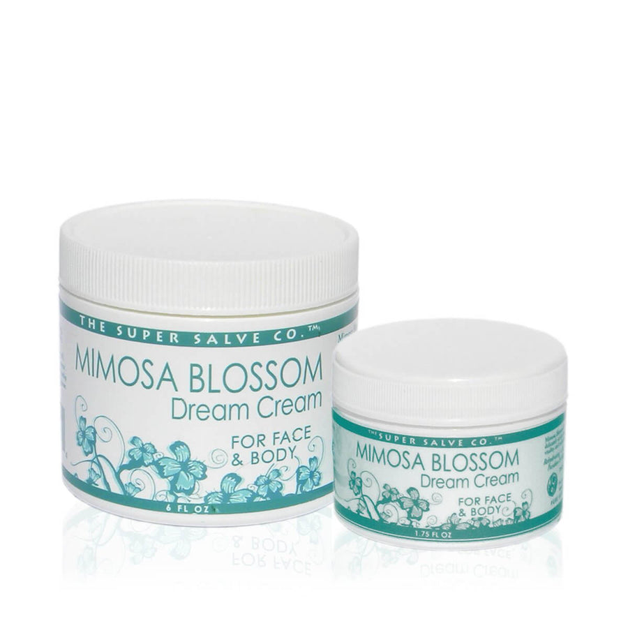 Two containers of Super Salve Mimosa Blossom Draem Cream in 6 and 1.75 fl. oz containers