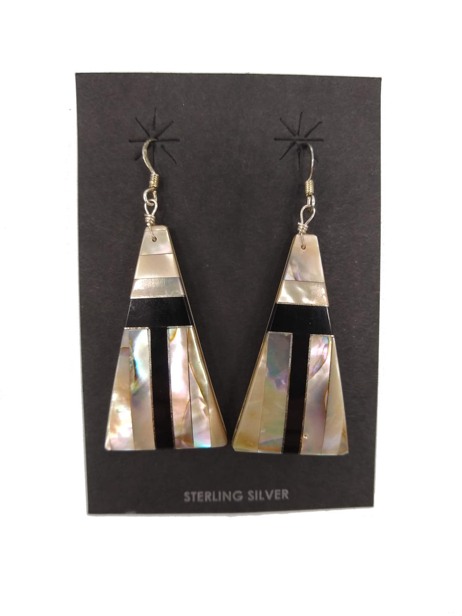 Mosaic White Shell and Jet Earrings