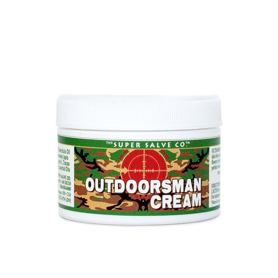 A 1.75 oz. container of Outdoorsman Cream from the Super Salve Company is seen against a white backdrop at Winter Sun