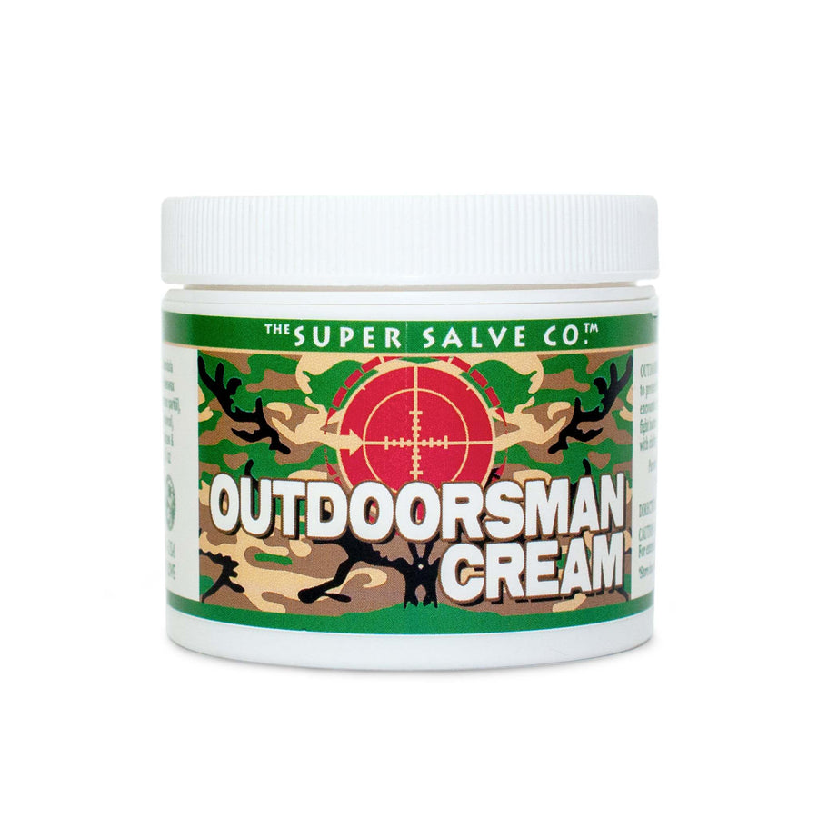 A 6 oz. container of The Super Salve Company's Outdoorsman Cream, created for hunters by hunters,  is seen against a white background at Winter Sun Trading Co.