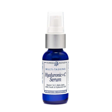 A blue 1 ounce pump bottle of Power Repair Multi-Tasking Hyaluronic + C Serum by Sister Creations is seen against a white background