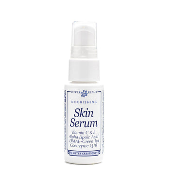 A 1 oz. bottle of Power Repair Nourishing Skin Serum  by Sister Creations is seen on a white background.