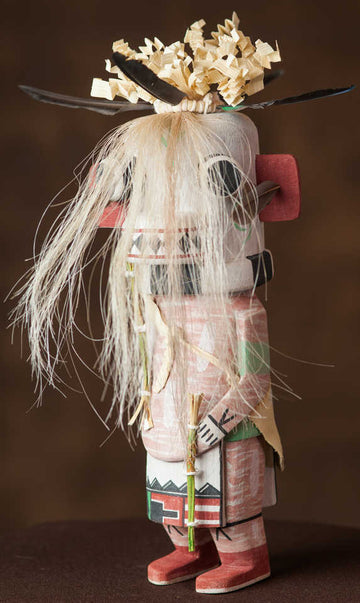 The white Awatovi Ogre Katsina - traditional Hopi kachina doll hand carved by Quinston Taylor