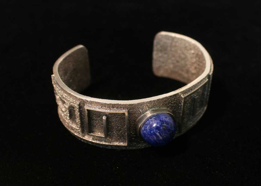 Sterling Silver Tufa Sandstone Bracelet with Natural Lapis Stone by Carlos Dougi