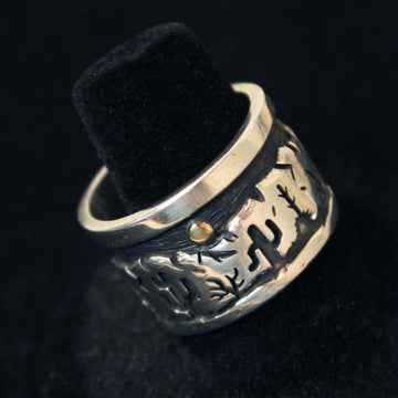Landscape Silver Overlay Ring with Gold