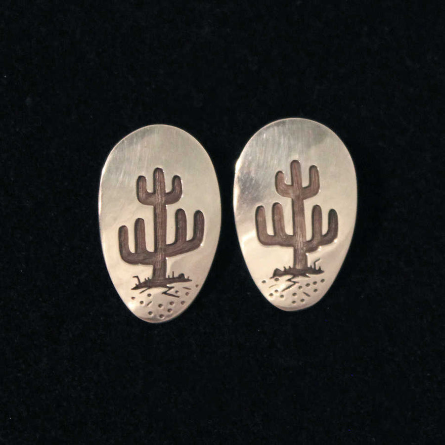 Saguaro Silver Overlay Earrings