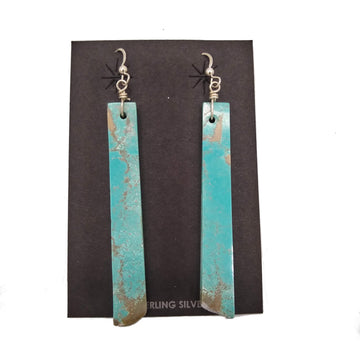 Long Turquoise Slab Earrings