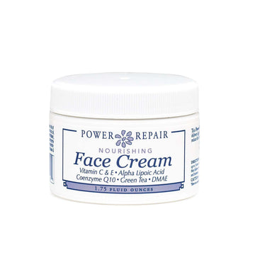 A 1.75 oz. container of Power Repair Face Cream by Sister Creations is seen against a white background at Winter Sun Trading Co.