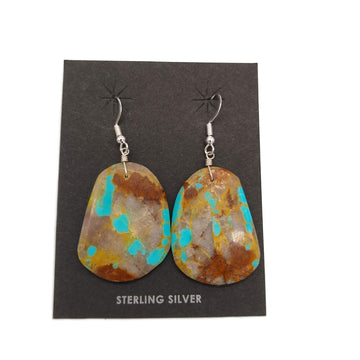 Turquoise Slab Oblong Earrings by Ray Lavato