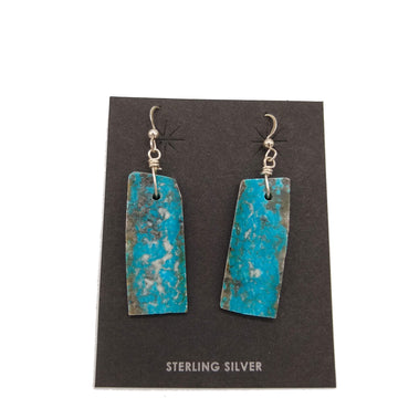 Turquoise Slab Rectangle Earrings by Ray Lavato