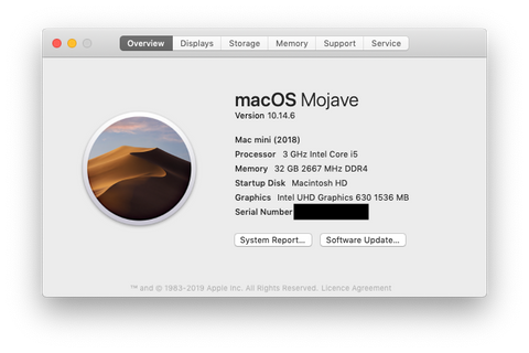 About This Mac macOS 10.14 Catalina