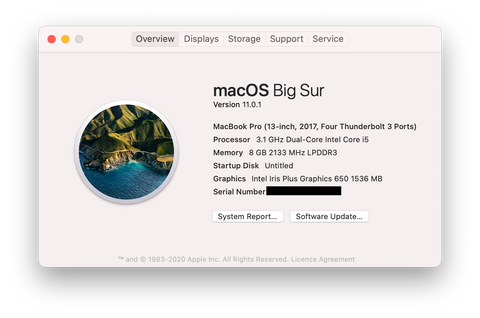 About This Mac macOS Big Sur 13-inch MacBook Pro