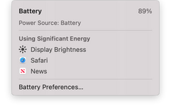 macOS 11.0 Big Sur Using Significant Energy