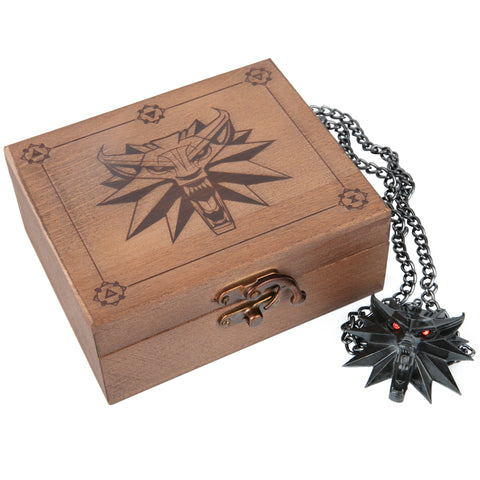 View 1 of The Witcher 3: Wild Hunt Medallion and Chain with LED Eyes in Wooden Box photo.