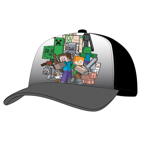 View 1 of Minecraft Heroes and Mobs Youth Snap Back Hat photo.