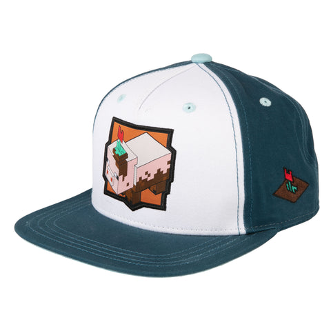 View 1 of Minecraft Earth Muddy Pig Patch Youth Snap Back Hat photo.