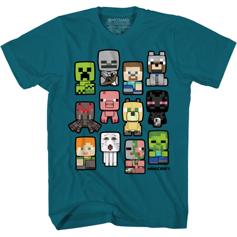 View 1 of Minecraft Bobble Mobs Roll Call Youth Tee photo.